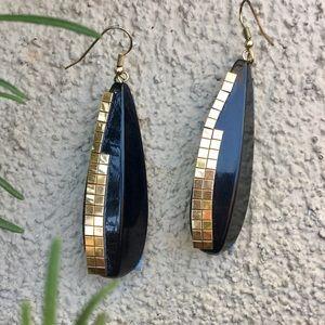 Black & gold disco big dangly retro earrings